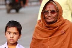 Indian Grandmother and Child Stock Photography