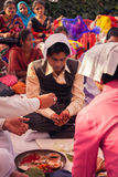 Indian groom doing marriage rituals Royalty Free Stock Photo