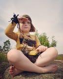 Indian guard. Girl dressup child Hiawata childhood Stock Image