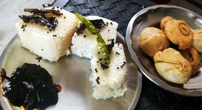 Indian gujarati Traditional Street Food Khaman Dhokla stock photography