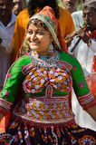 Dancing Indian Gujarati Kutchi young village girl Royalty Free Stock Photography