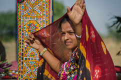 Dancing Indian Gujarati Kutchi young village girl Stock Images
