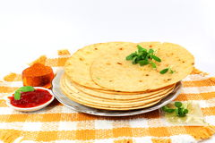 Indian gujrati snack khakhra or crispy roti or crispy chapati bread. For indian gujrati breakfast cooking food health healthcare related work Stock Images