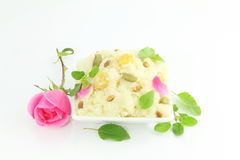Indian gujrati sweet shira on white background Stock Images
