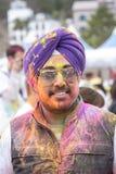 Geoje, SOUTH KOREA - MARCH 2018: Holi festival. Indian guy at Korean Holi festival Royalty Free Stock Photography