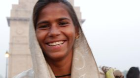 Indian gypsy girl, New Delhi, India stock video footage