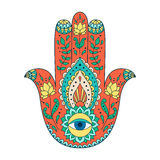 Indian hand drawn hamsa. Hamsa henna tattoo with ethnic ornament. Colorful indian pattern. Illustration in zentangle style Royalty Free Stock Images