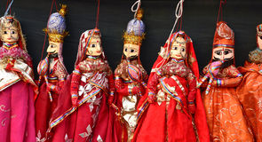 Indian hand made puppets. Colorful Indian hand made puppets at craft show Stock Photography