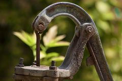 Indian hand pump water supply old stock image