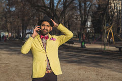 Indian handsome man talking on phone Royalty Free Stock Photo
