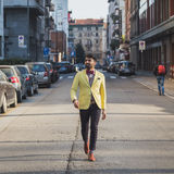Indian handsome man walking in an urban context Royalty Free Stock Photo