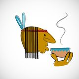 Indian head with brown skin. Vector design Royalty Free Stock Photography