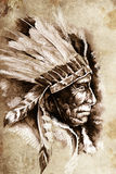 Indian Head Chief Illustration. Royalty Free Stock Photos