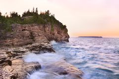 Indian Head Cove at sunset in Georgian Bay, Lake Huron royalty free stock image