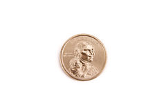 Indian Head Gold Dollar Coin with White Background Stock Image