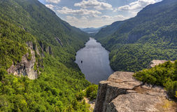 Indian Head Lookout. A magnificent view of Lower Ausable Lake from the Indian Head Lookout in the high peaks region of the Adirondack Mountains of New York Royalty Free Stock Photo