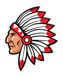 Indian head mascot. Vector of indian head mascot, suitable as a sport team or club mascot Stock Photos