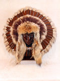 Indian Headdress. Front view Of Brown Native American Feathered War Bonnet Royalty Free Stock Images