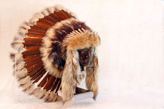 Indian Headdress. Side view Of Brown Native American Feathered War Bonnet Royalty Free Stock Image
