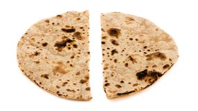 Chapati. Indian healthy food chapati isolated on white Stock Photography
