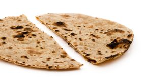 Chapati. Indian healthy food chapati isolated on white Stock Image