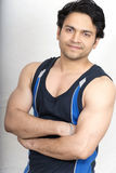 Indian healthy male model wearing vest. Indian healthy male model wearing black vest Royalty Free Stock Image
