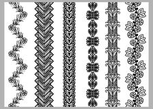 Indian Henna Border decoration elements patterns in black and white colors. Royalty Free Stock Photo