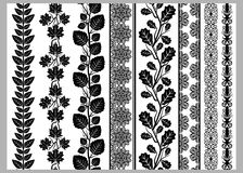 Indian Henna Border decoration elements patterns in black and white colors.   Royalty Free Stock Photography