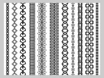 Indian Henna Border decoration elements patterns in black and white colors Royalty Free Stock Image