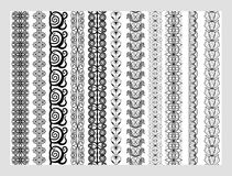Indian Henna Border decoration elements patterns in black and white colors. Stock Photo