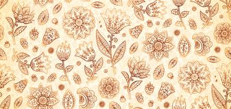 Indian henna colors boho vintage flowers vector seamless pattern tile royalty free illustration