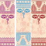 Indian Henna Grunge Paisley Design Buddha Eyes Vertical Banners Royalty Free Stock Photography