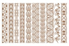 Indian Henna Seamless Borders Royalty Free Stock Photo