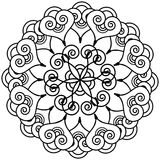 Indian henna tattoo inspired flower shape with inner floral star element. In round shape stock illustration