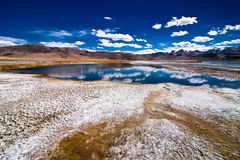 Indian Himalaya landscape with salt lake Tso Kar Stock Photos