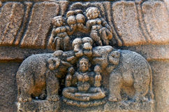Indian Hindu Architectural details of stone carvings in an ancient temple Stock Photography