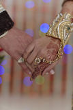 Indian Hindu Bride & Groom holding hands Stock Images