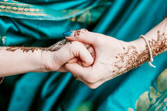Indian hindu bride with mehendi heena. Stock Images