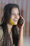 Indian Hindu Bride with turmeric paste on face. Stock Image