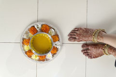 Indian Hindu Bride with turmeric paste. Stock Photography