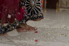 Indian Hindu Bride walking Phrera Stock Photos