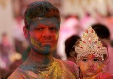 Indian Hindu celebrate Holi festival Stock Images