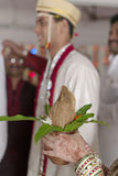 Indian Hindu Groom's sister with coconut in her hands at the ritual of exchanging garland in maharashtra wedding. Stock Images