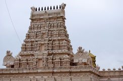 Indian hindu temple. Gopuram. White temple architecture. Place to worship god Royalty Free Stock Images