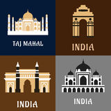 Indian historical and landmark flat icons. Indian architecture and landmarks flat icons of historical and worship buildings as Taj Mahal, India Gate and Gateway Royalty Free Stock Photography