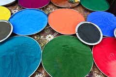 Indian holi colors. Indian Holi festival colors decorated in plates Stock Photos