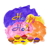 Indian Holi Festival Background. Happy Holi celebration vector with watercolor splashes Stock Photography
