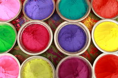 Indian holi festival colors. Holi colours are kept in different bowls for selling Royalty Free Stock Photos