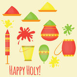 Indian Holi traditional festival of colours, design elements in indian style, hinduism colorful celebration Stock Images