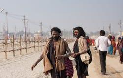 Indian holy men walking Stock Images